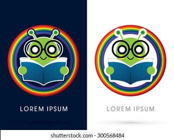Book worm, cartoon cute, on rainbow background, graphic vector.
