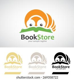 Book Worm Reading a Book Logo Icon Vector Illustration