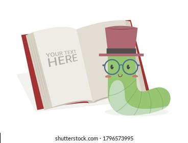 Book worm reading book vector illustration cartoon isolated on white background. Cute bookworm and a book.