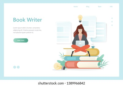 Book writer concept. Woman sitting with laptop on book. Concentration and brainstorming. Professional worker. Isolated vector illustration in cartoon style