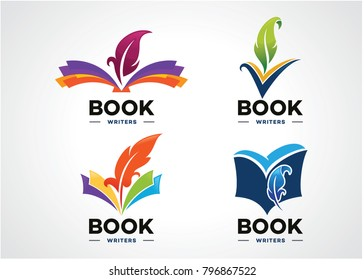 Book Writer Logo Set Template Design Vector, Emblem, Design Concept, Creative Symbol, Icon