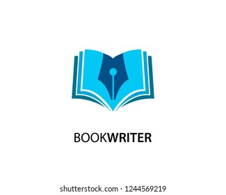 Book Writer logo template design vector