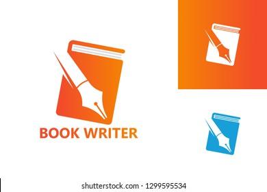 Book Writer Logo Template Design Vector, Emblem, Design Concept, Creative Symbol, Icon