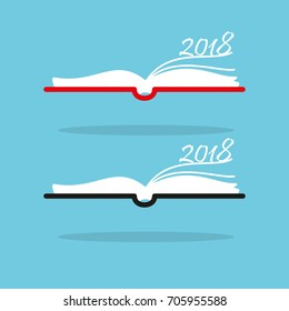 Book with year 2018 - graphic for business design, infographics, reports or workflow layout in flat style