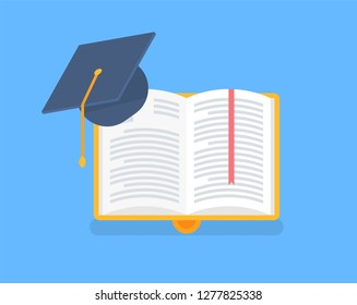 Book in yellow cover with academic cap. Education in university, science and symbol of higher knowledge and wisdom. Open bk with stripes in flat vector