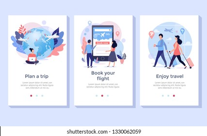 Book your flight online illustration set, perfect for banner, mobile app, landing page
