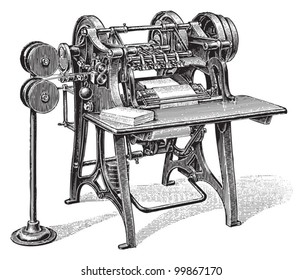 Bookbinding machine / vintage illustration from Meyers Konversations-Lexikon 1897