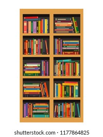 A bookcase with books. flat vector illustration isolated on white background