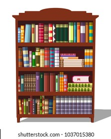 A bookcase with books. Vector illustration.