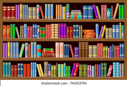 Bookcase with books. Vector illustration