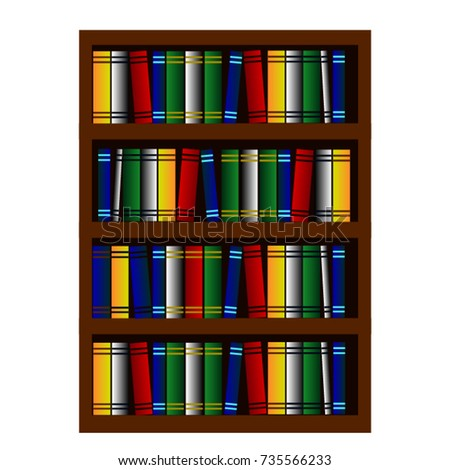 Bookcase Cartoon Stock Vector Royalty Free 735566233