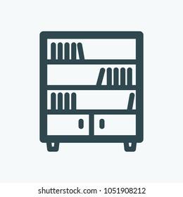 Bookcase, closet with book shelves vector icon