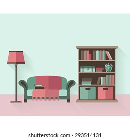Bookcase and couch. Interior flat style, long shadows
