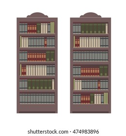 Bookcase with different books. Vector illustration isolated on white background.