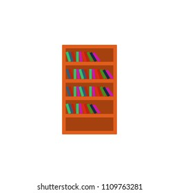 bookcase flat icon. Element of furniture colored icon for mobile concept and web apps. Detailed bookcase flat icon can be used for web and mobile. Premium icon on white background