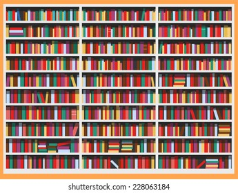 Bookcase full of books vector illustration cartoon.