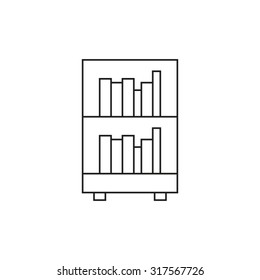 Bookcase icon outline on white