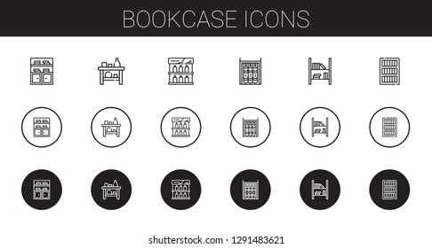bookcase icons set. Collection of bookcase with bookshelf, shelf. Editable and scalable bookcase icons.