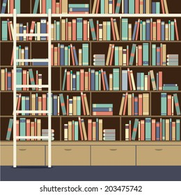 Bookcase With Ladder Vector Illustration