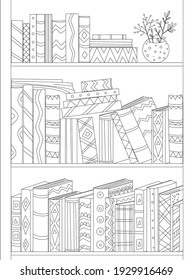 bookcase with shelves of books and vase of flowers. funny book covers and spines for your coloring page