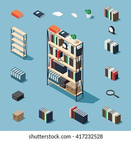 Bookcase vector isometric concept illustration. Decorated bookcase plus collection of isometric objects: stack of books, standing book, bookcase, clocks, magnifier, folder, plant, letter, papers, box.