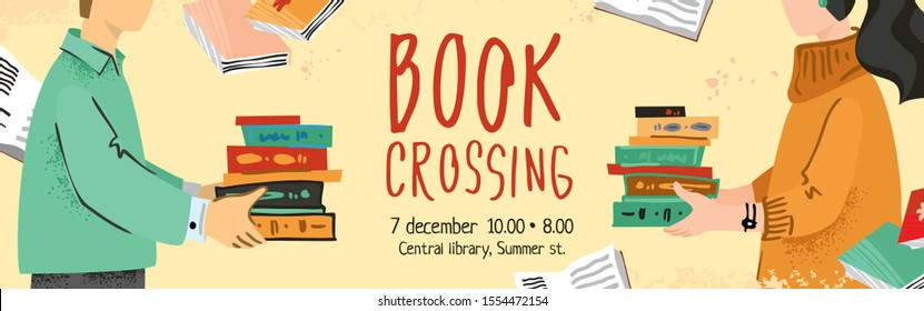 Bookcrossing banner vector template. A man and a woman opposite each other hold a book hand drawn in a modern flatstyle. The concept of the poster, re-use items. Cute cartoon vector illustration