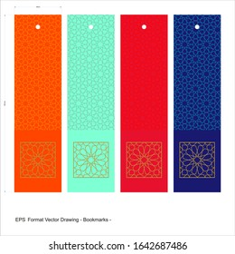 Bookends cards in ottoman style. Trend Colors. Vector set of ornate vertical. It can be used as wall board, banner, icon, gift card, sticker, tag, Bookends or book separator.