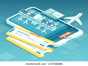 Booking airline tickets online concept. Vector of a travel, business flights with boarding pass, airport terminals and airplane taking off