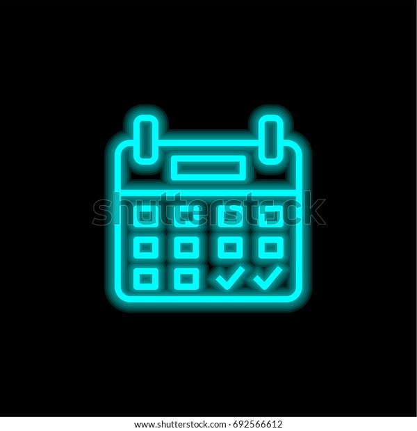 Booking blue glowing neon ui ux icon. Glowing sign logo vector