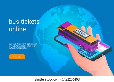 Booking bus tickets online. Hand holding a mobile phone with bus. Isometric vector illustration.