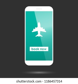 Booking or buying flight ticket illustration with white smartphone mockup and modern clean design.