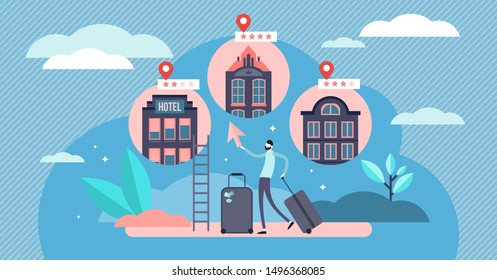 Booking hotel vector illustration. Flat tiny accommodation choice persons concept. Abstract hostel and apartments web platform service for tourist and business trip. Online bed reservations search.