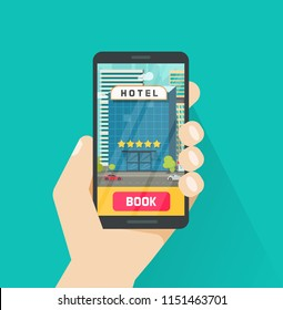 Booking hotel via mobile phone vector illustration, flat cartoon smartphone with hotel on screen, idea of online reservation via cellphone