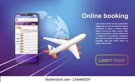 Booking online flights travel. Buy ticket online.  Business flights worldwide. Concept for web page, banner, presentation, social media. Vector illustration.