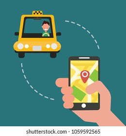 Booking taxi via mobile app