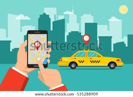 65affc6b17 Royalty-free stock vector images ID  535288909. Booking taxi via mobile  app. City skyscrapers and car on the background. Vector flat illustration.  - Vector