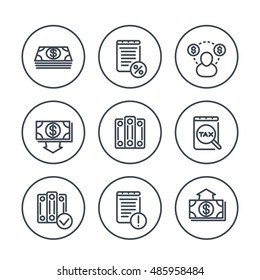 Bookkeeping line icons in circles, payroll, tax, cost, accountant, vector illustration