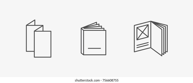Booklet, Magazine, Catalog Vector Icon Set, Flat Outline Vector Icons Set, EPS 8.