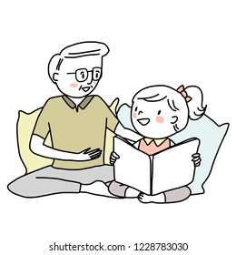 Booklover concept with mature man telling and reading a storybook to his granddaughter. Little girl reading a storybook with her grandpa. Grandfather spending happy family time with his grandkid.