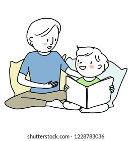 Booklover concept with smiling man telling and reading a storybook to his son. Little boy reading a storybook with his papa. Father spending happy family time with his child. Hand-drawn vector.