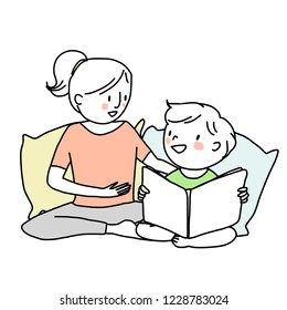Booklover concept with smiling woman telling and reading a storybook to her son. Little boy reading a storybook with his mama. Mother spending happy family time with her child. Hand-drawn vector.