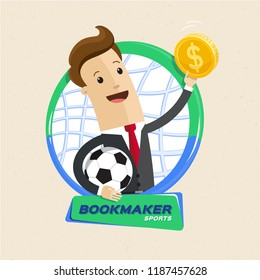 Bookmaker man with ball and money. Vector flat style cartoon illustration