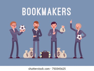 Bookmakers men with money. Professional people welcoming to accept and pay off bets on sporting or other events, promising profit. Vector flat style cartoon illustration isolated on blue background