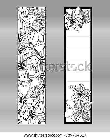 Bookmark Design Place Note Floral Doodling Page Coloring Stock ...