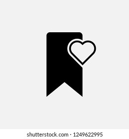 Bookmark with heart icon. Bookmark with heart concept symbol design. Stock - Vector illustration can be used for web