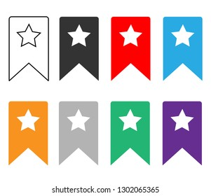 bookmark icon on white background. flat style. bookmark icon for your web site design, logo, app, UI. set bookmark icon symbol. bookmark ribbon sign.