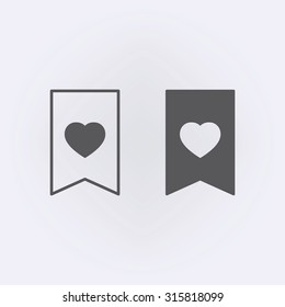 Bookmark icon set with heart . Vector illustration