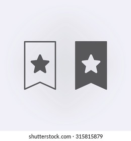 Bookmark icon set with star - favorite . Vector illustration