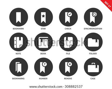 bookmark and print media vector icons set reading and education consept items for advertising