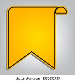 Bookmark sign. Flat orange icon with overlapping linear black icon with gray shadow at whitish background. Illustration.